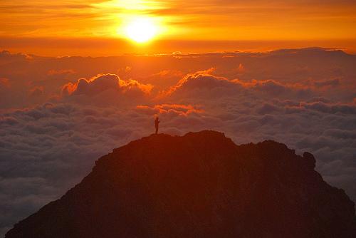 Goryu-dake Peak Rising Sun Japan