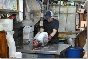 Tsukiji Fish Market Tokyo Japan Tuna Cutting